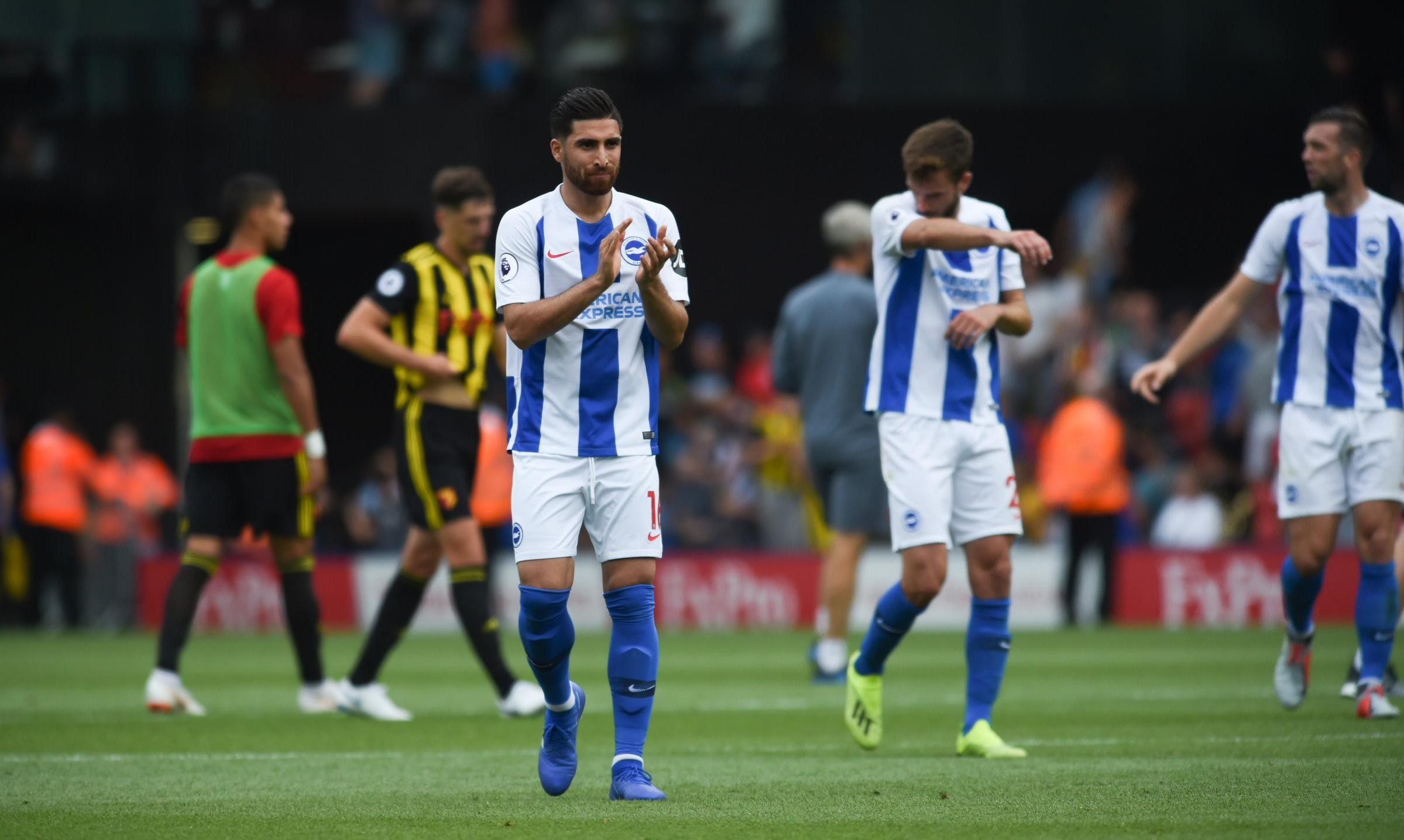 Alireza Jahanbakhsh applauds the Albion fans after defeat at Watford